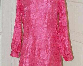 ON SALE 60s Cherry Pink Brocade Dress, A-Line, Mini, Size M/L