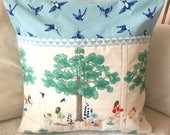 Pocket Pillow Dreaming Tree in Summer Book Pillow Quilted blue green Pillow Cover Trees Nature  Birds