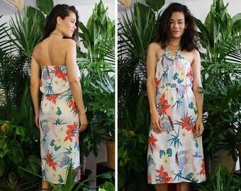 Tropical Floral Dress S/M • Vintage Summer Dress • Tube Top Dress • Strapless Dress Beach • Vintage Cotton Dress • Novelty Dress | D1346