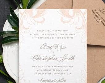 Vintage Wedding Invitation / 'Country Manor' Elegant Calligraphy Wedding Invite / Nude Peach Grey Gray Silver / Custom Colours / ONE SAMPLE