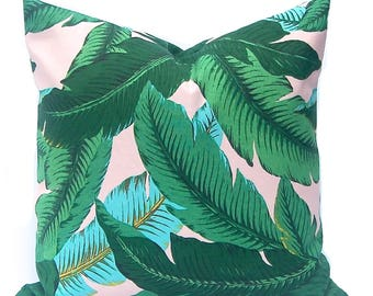 Outdoor Pillow Cover - Tommy Bahama Swaying Palms - Banana Leaf Pillow Cover - Pink and Turquoise - Destination Wedding - Palm Leaf Pillow