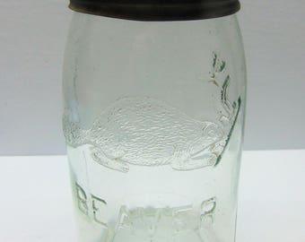 Vintage  Beaver Jar, 1 Quart Canning Jar