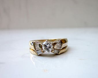 Vintage .42 carat Total Diamond Weight 14k Solid Yellow Gold Wedding Set Matching Engagement Ring and Wedding Band, Size 5