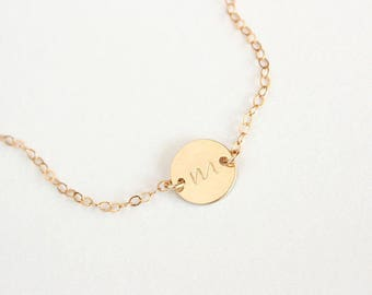 Name Necklace , Circle Disk Necklace , Initial Disk , Available Gold & Silver , Monogram Choker Necklace , Layering Necklace , Personalize