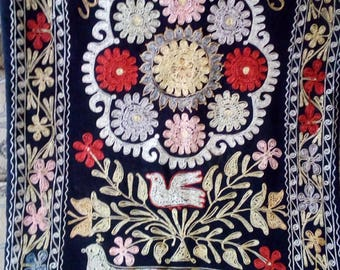 Uzbek silk embroidery on black velour suzani. Wall hanging, table runner, home decor suzani. SW014
