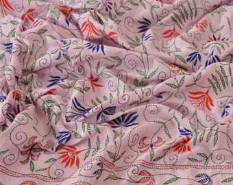Indian vintage hand embroidered cotton dupatta. Kantha scarf, shawl. SCM006