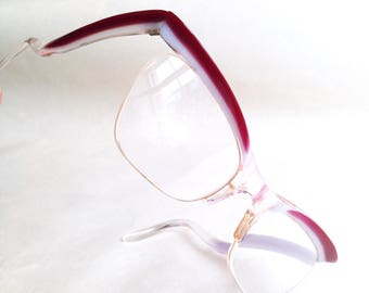 1950s Red stripe cateye spectacle frames / 50s white red cat eye glasses