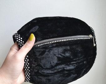1930s 40s Black silk velvet & rhinestone purse muff / 1940s 30s evening diamanté zip coin bag hand warmer