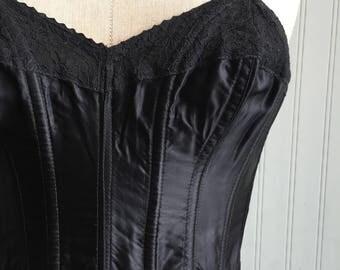 Vintage Black Bustier, 1950s shapewear