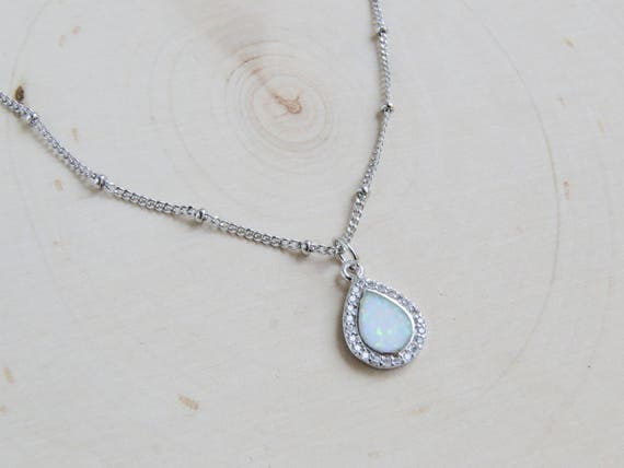 Silver Dainty Opal Necklace