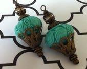 SALE Brand new Vintage Style Retro Dangle Drop Carved glass synthetic turquoise colored Pendant 2 pcs.