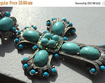 ON SALE Extra large statement Cross Flea market style Turquoise and rhinestone encrusted rustic Patina