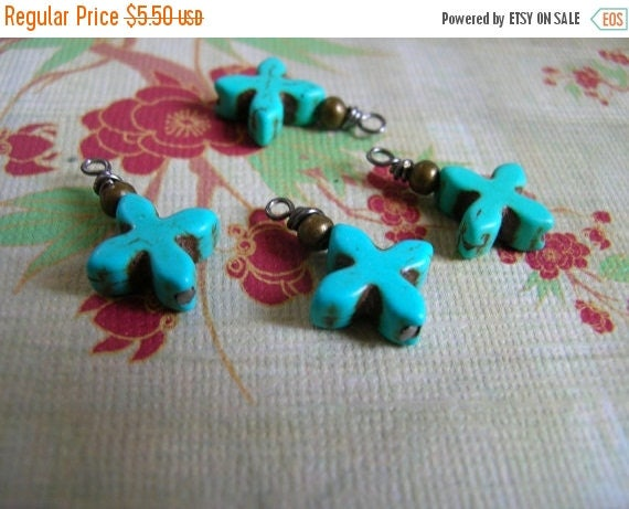 SALE BD425 Earthy Wire wrapped Cross dangle charms Dyed Bright Blue Turquoise 15mm 4pcs.