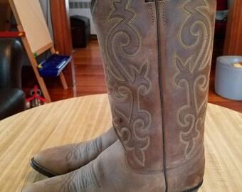 Vintage Justin Cowboy Boots Bay Apache Leather Size 6.5 D 1970s 1980s Original Box