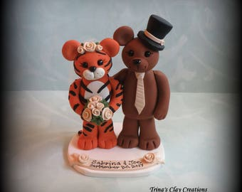 Wedding Cake Topper, Tiger, Brown Bear, Cake Topper, Polymer Clay, Custom, Wedding/Anniversary Keepsake