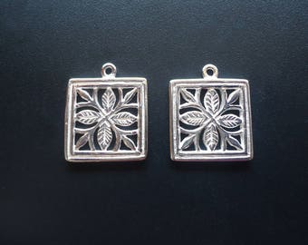 Sterling Silver Square Flower Pendant / Charm - 14mm Square
