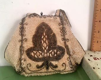 Vintage purse, vintage clutch, roaring 20s purse, flapper purse, hand beaded bag, beaded vintage purse, vintage bridal purse