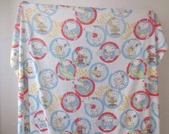 Vintage '60s/'70s Snoopy Athletic Twin Size Flat Sheet by Bibb Co., Cotton / Poly, 91 x 66 Inches