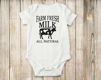Farm, Onesie, Bodysuit, shirt, Cow, Milk, Baby, children, clothing, kids, tee, tops, animal