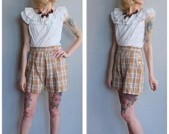 25% Off Sale // 1930s Shorts // Cotton Plaid Summer Shorts // vintage 30s shorts