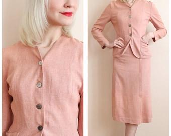 1940s Suit // Blush Linen Suit // vintage 40s suit