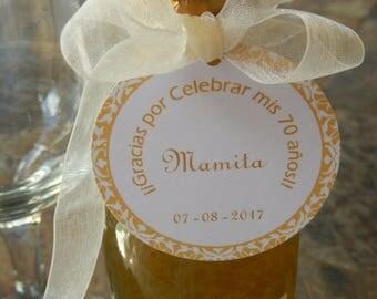 "50 Spanish Birthday Custom 2"" Thank You Favor Tags - Gracias Por Celebrar - For Mini Wine or Champagne Bottles - Mason Jar Floral Gift Tags"