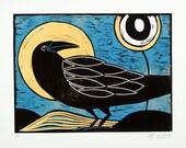 linocut, raven, full moon, woodland, yellow, blue, black, bird, printmaking, nature art, forest bird, graphic art, stylized art,