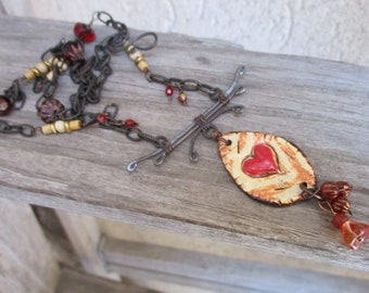 Artisan Heart charm necklace twisted wire  rustic red Pottery Heart