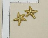 Mosaic tiles pair of golden starfish - handmade ceramic mosaic art tiles