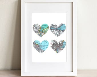 CUSTOM Four Heart Map Art Print. Print Only. You Select Locations Worldwide And Personaized Text. 4 Heart Print. Wedding Gift. Anniversary