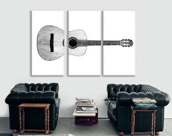 FLASH SALE til MIDNIGHT Black and White Acoustic Guitar Full View on 3 Canvas Split , Decorating Ideas, Wall Decor, Wall Art, Music Decor