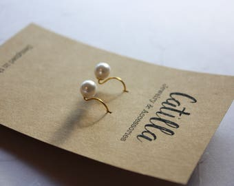 Casual White Faux Pearl Earrings. French Ear Wires. Casual Pearls. 14 Karat Gold Plated over Sterling Silver. Ready to Ship