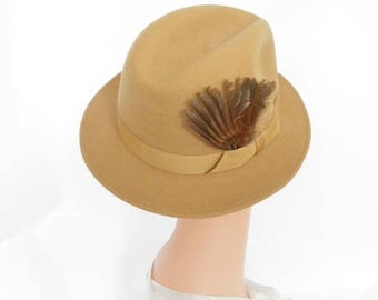 Vintage fedora hat, 1960s camel wool, feathers, LL Bean, England
