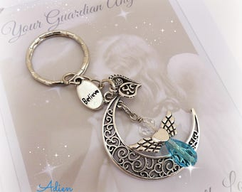 Guardian Angel Bag Charm or Key Chain, Moon Angel, Inspitational Gift, Gift for a Friend