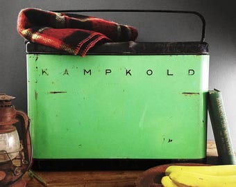 Vintage Cooler KAMPKOLD Ice Chest in Retro Green and Black; Rustic Mid Century Cabin Decor