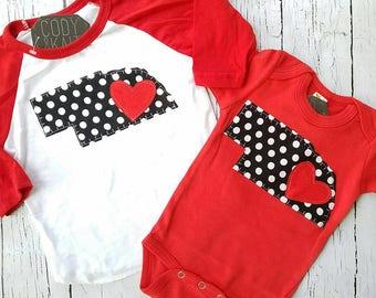 Nebraska state outline shirt, girl, baby, ragaln tee, Women, Boy, Girls, baby