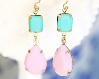 Vintage Pink Aqua Turquoise Blue  Gold Drop Dangle Earrings - Statement Earrings, Bridal, Wedding, Bridesmaid, Honeymoon