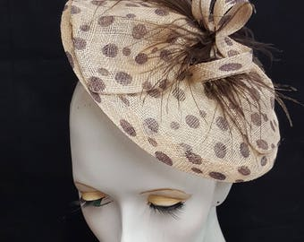 Brown neutral natural spot polka dot saucer tilt sinamay fascinator hat with feather detail - headband fixing ideal weddings races