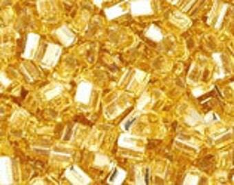 Japanese (TOHO) 11/0 Triangle Seed Bead, Silver-Lined LT TOPAZ, #22, (tg-25),  topaz, gold, Kumihimo, Beadweaving, Beading, Jewelry