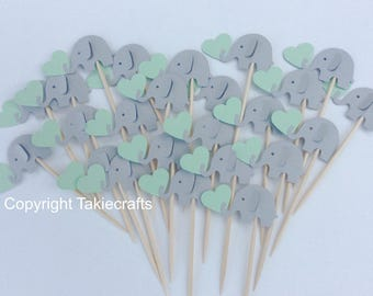Reserved listing for Amanda - 31 elephant cupcake toppers gray and Mint Green - Party Picks - Cupcake Toppers Baby Shower - Food Picks