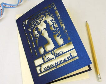 Engagement Papercut Card, A5 Unpersonalised Metallic Blue and Cream Couple Congratulations Laser Cut Card