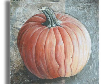 Pumpkin Painting, Halloween Wall Decor, Pumpkin Wall Decor, Thanksgiving Pumpkin, Halloween Pumpkin Picture, Original Painting on Wood