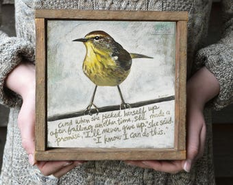 Yellow and Gray Wall Art, Encouragement Gift, Confidence Quote, Girlfriend Gift Idea, Support Gift for Friend, Bird Art in Barnwood Frame
