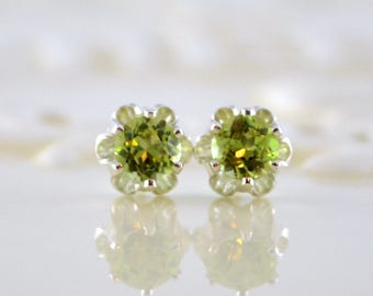 Peridot Earrings, Stud Earrings, Child or Teen, Genuine Gemstone, Flower, 4mm Stone, Sterling Silver Post, August Birthstone Jewelry