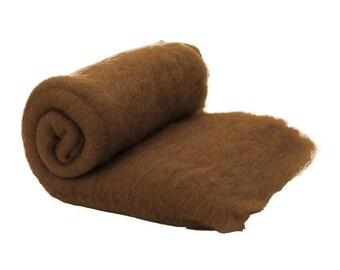Carded Fiber Batt - Merino Wool 23micron - Chocolate - 7 oz