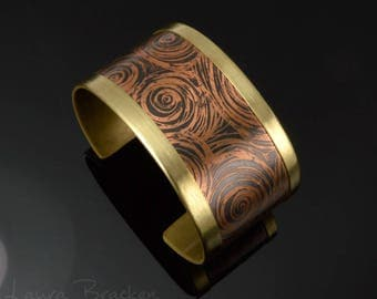 Starry Night Etched Copper Cuff with Brass Highlights