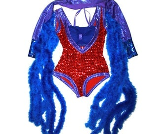Handmade Ziggy Glam Rock Costume - Sequined feather boa spandex outfit halloween party rave dance dancer outfit glittery costume red blue