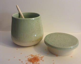 Handmade speckled celadon jewelry jar