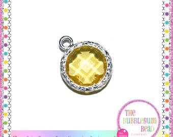 17mm CUBIC ZIRCONIA TOPAZ Silver Charm, Birthstone Charm, November Birthday Charm, Round Charm, Topaz Charm, The Bubblegum Bead Company