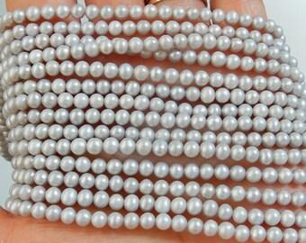4mm Silver Gray, potato  freshwater pearl , FULL STRAND